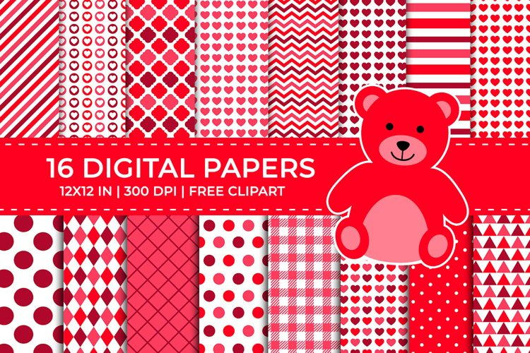 Red Valentine Digital Papers Set, Free Teddy Bear Clipart