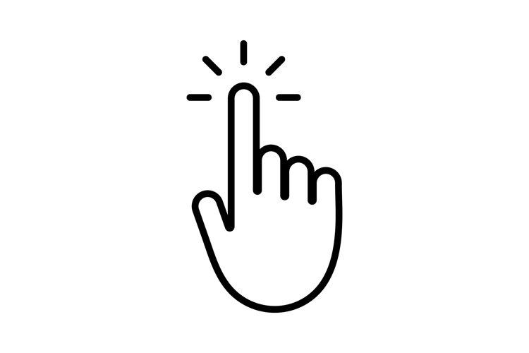 Hand click icon. Pointer symbol example image 1