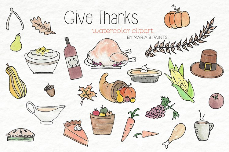 Thanksgiving holiday feast Watercolor Clipart