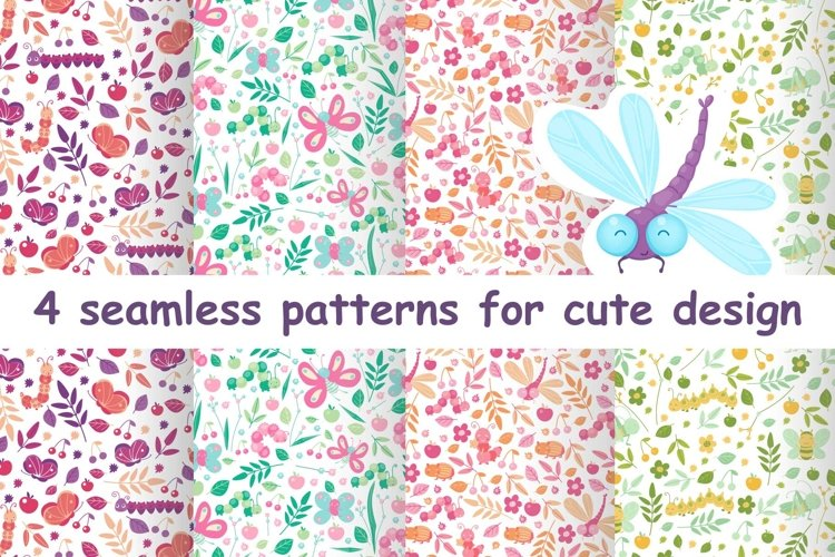 Floral animal cute seamless patterns for baby example image 1