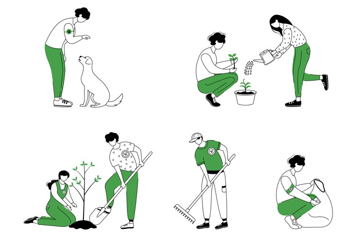 Community workers flat contour vector illustrations set example image 1