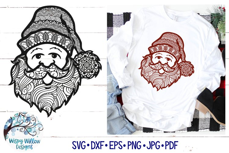 Santa Zentangle SVG | Christmas Santa Mandala SVG File example image 1