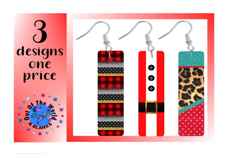 Sublimation earring 3pc bundle for bar rectangle earrings example image 1