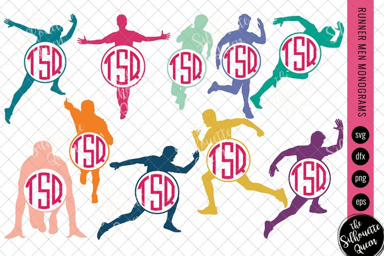 Runner Men Svg Monogram,Circle Frames, Cuttable Design example image 1