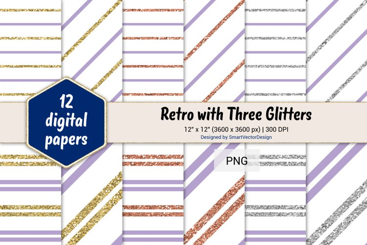 Pinstripes Retro with Three Glitters Color Combo #89 example image 1