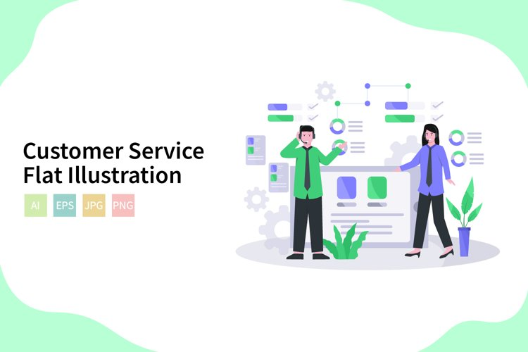 Customer Service Vector Illustration In Flat Modern Style example image 1