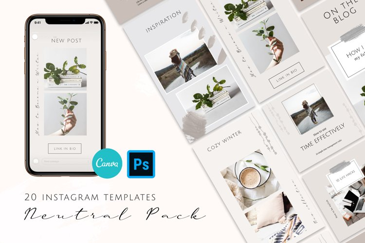 Neutral Instagram Posts and Stories Templates example image 1