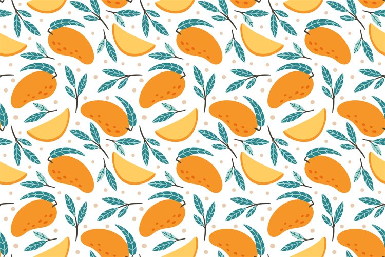 Seamless mango pattern. Hand drawn doodle gourmet sweet mang example image 1