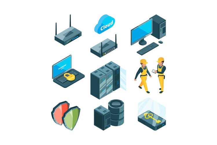 Isometric icon set of different electronic systems for datac example image 1