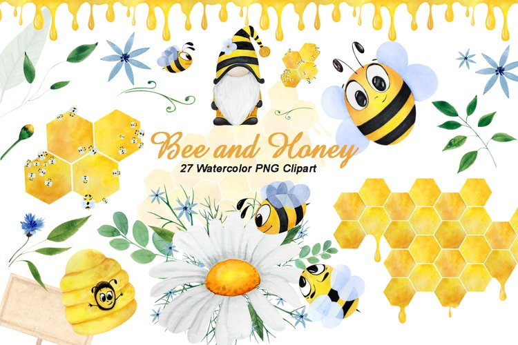 Watercolor bee clipart, png clip art, digital summer clipart example image 1