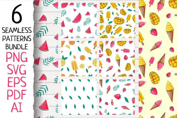 6 tropical seamless patterns Set . Fruit & ice cream. PNG