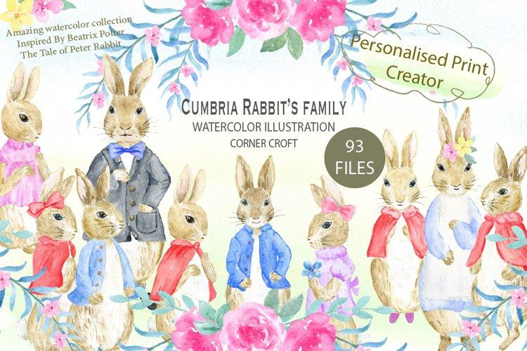Cumbria Rabbit Family, Mum, Dad, Sisters, Watercolor Illustration  example image 1