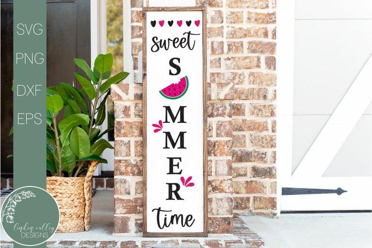 Watermelon Sweet Summertime Svg-Vertical Porch Sign Svg
