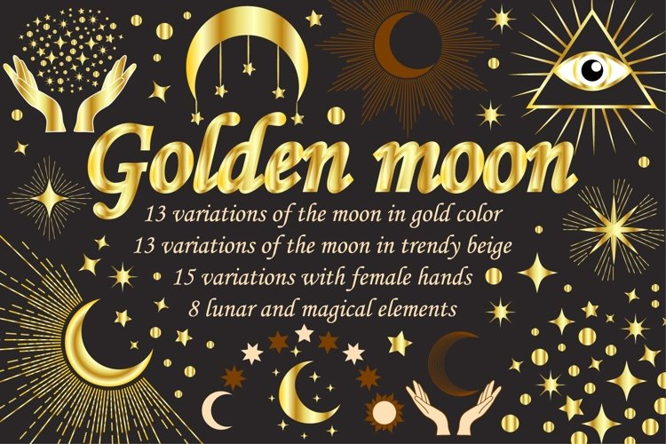 Golden moon and magic collection example image 1