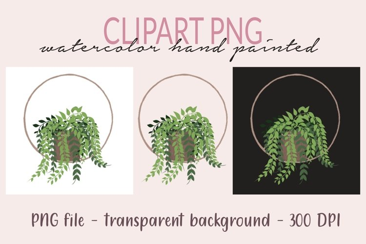 Plant in pot PNG Clipart, Plants Monogram, Watercolor PNG, example image 1