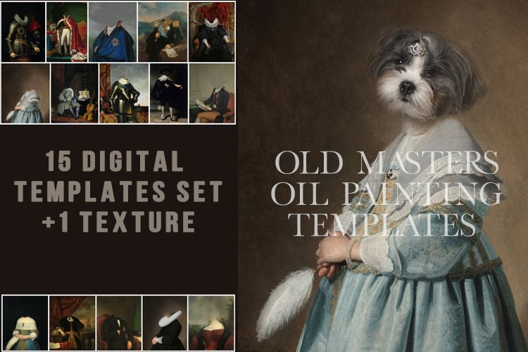 Old Masters oil painting pet portrait 15 templates