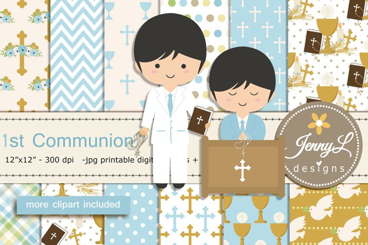 1st Communion Confirmation Boy Digital Papers and Bible Clip example image 1