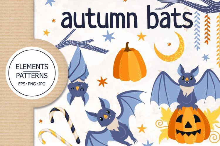 Autumn bats. Halloween set, elements and patterns