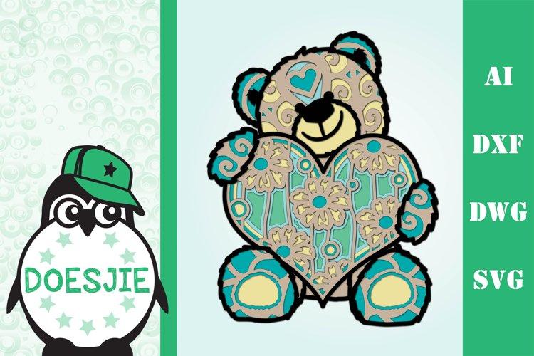 3d svg layered Multi layer mandala teddy bear example image 1