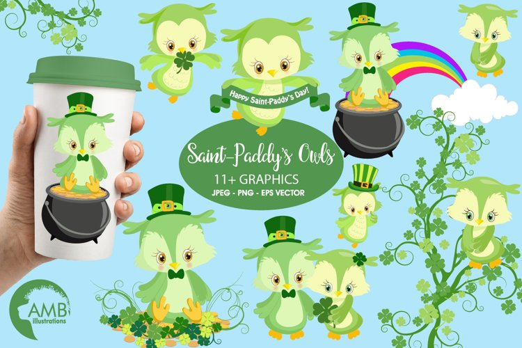 Owls for St-Patricks Day clipart, graphics, illustrations AMB-1185
