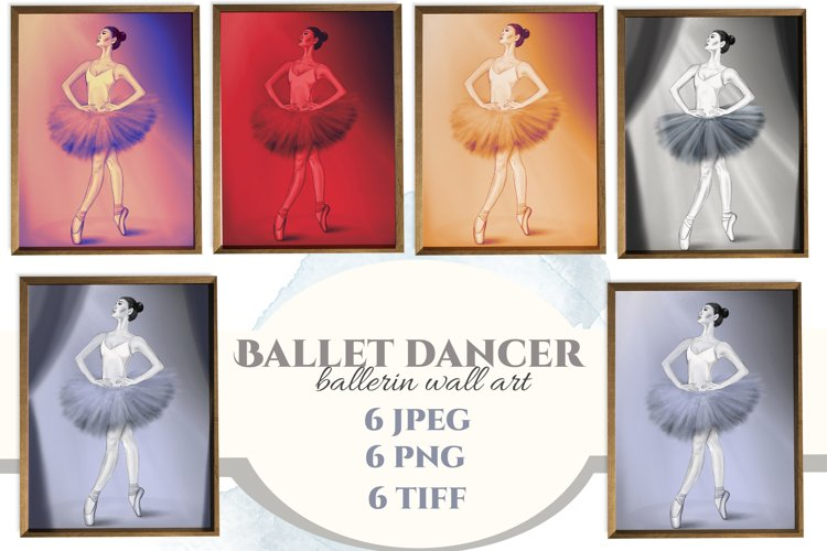 Ballerin. Ballet dancer wall art. Ballerina printable set.