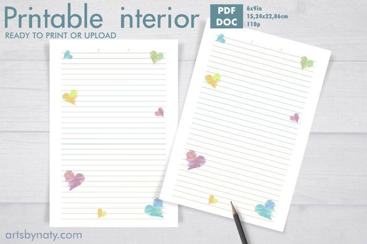 Hearts printable notebook KDP interior.