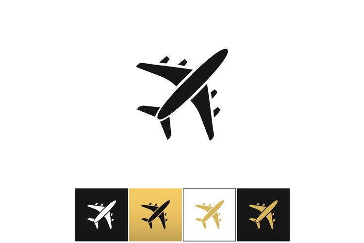 Black air plane silhouette vector icon example image 1