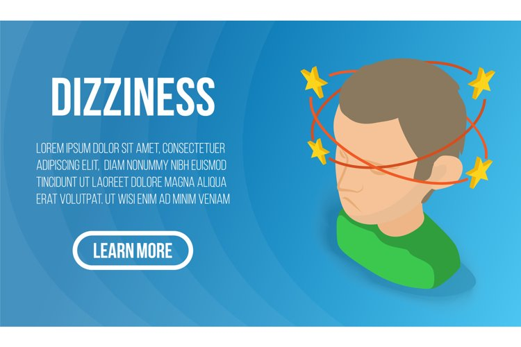 Dizziness concept banner, isometric style example image 1