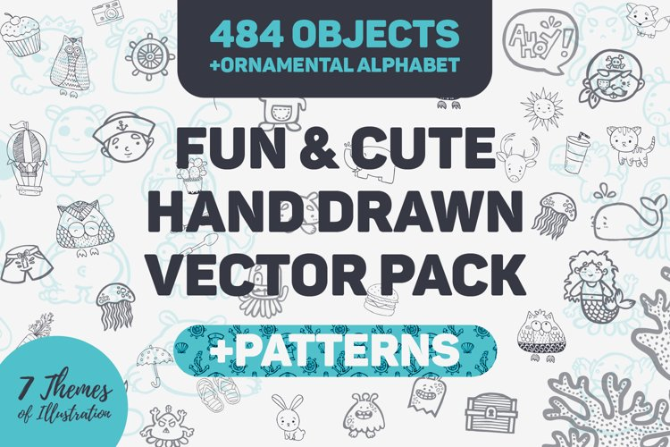 Fun & Cute Hand Drawn Vector Pack +Patterns example image 1