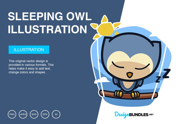 Sleeping Owl Vector Illustration