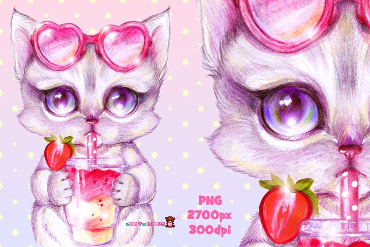 Cute Kitten with Strawberry Cocktail