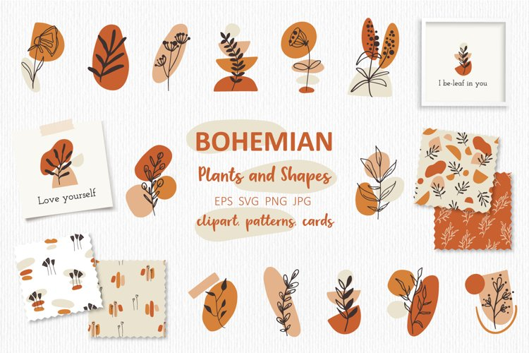 Boho Plants and Shapes Collection, Seamless Pattern, Clipart