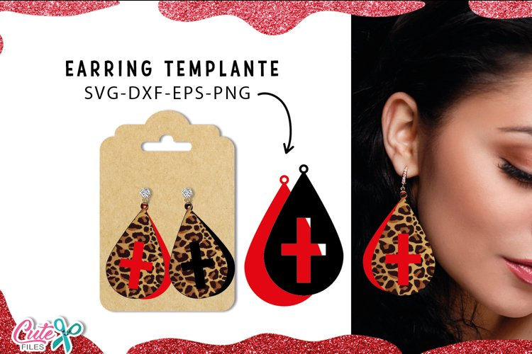 Tear drop with cross Earrings templante SVG cut file example image 1