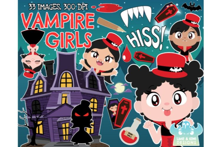 Vampire Clipart - Girls - Lime and Kiwi Designs