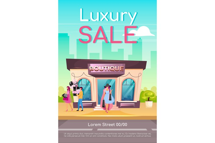 Luxury sale poster flat vector template example image 1