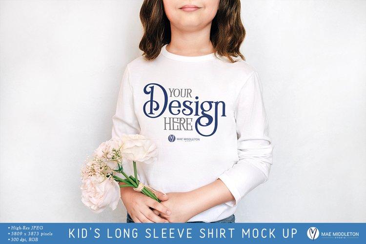 Kids Long Sleeve Shirt Mock up | Styled photo