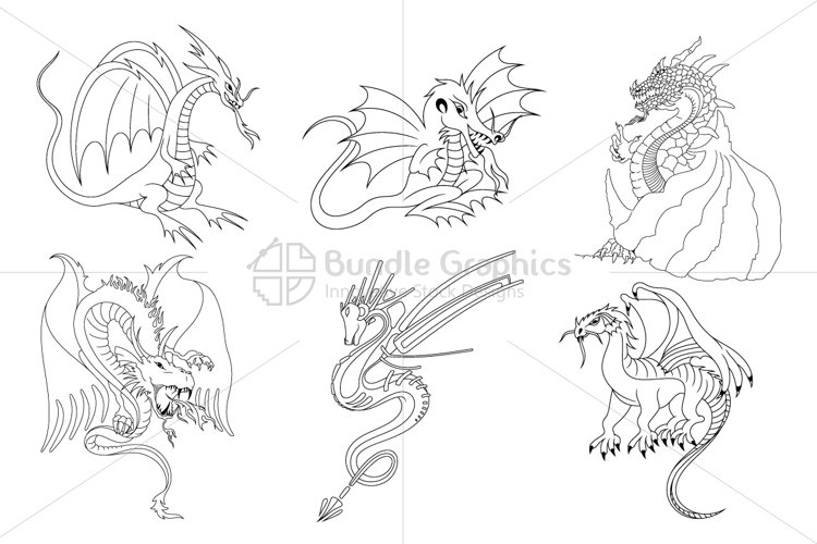 Fictional Dragons Linear Black Vector Set example image 1