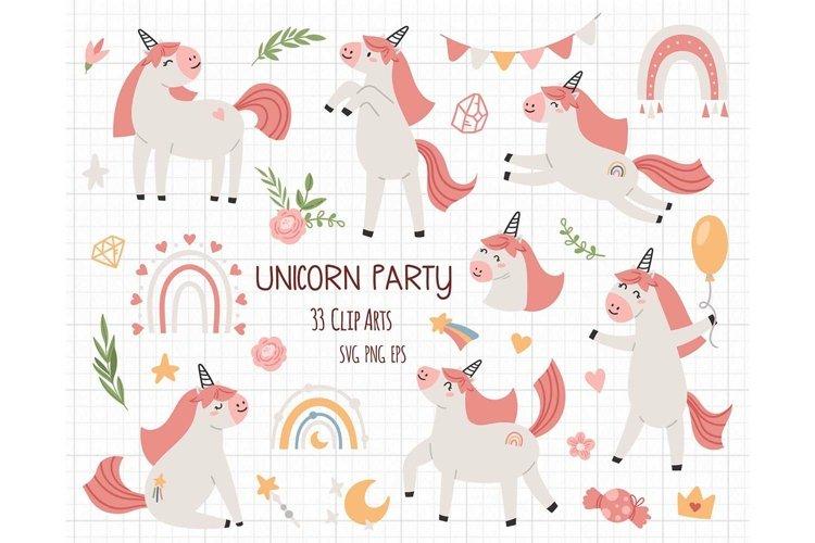Pink Unicorn SVG PNG kids cliparts set
