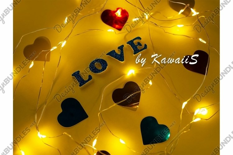 Valentine's Day Love glitter sign text on yellow background example image 1