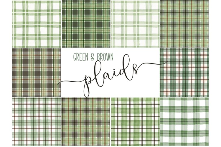 Green and Brown Watercolor Seamless Plaid Patterns
