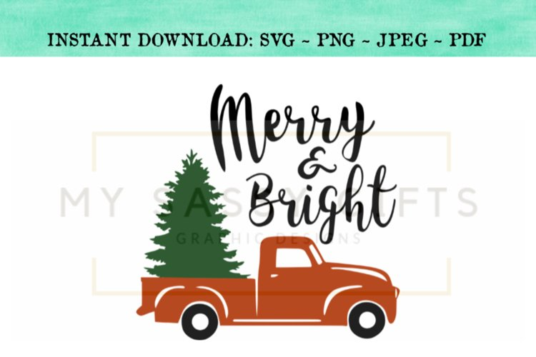 Merry And Bright Christmas Tree In Red Truck SVG Design example image 1