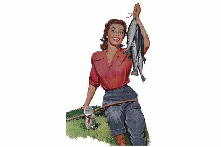 Retro Girl, Fishing Catch, Art Print, Sublimation PNG example image 1