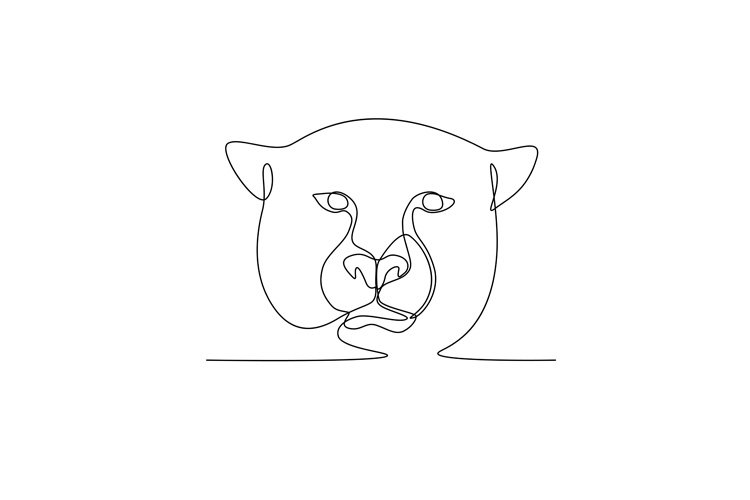 Cheetah Continuous Line Black and White example image 1
