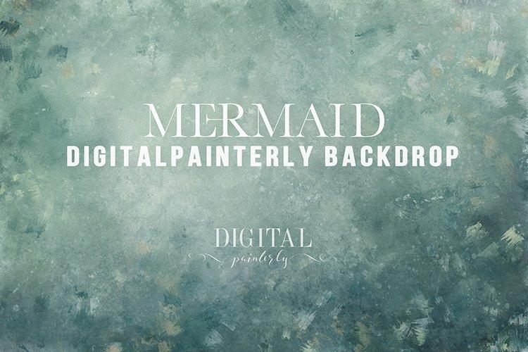Mermaid - hand painted digital background, fine art
