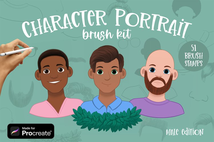 Character Portrait Creator brushes for Procreate   Male