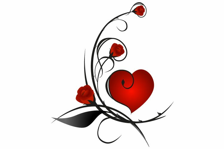 Red roses with heart. example image 1