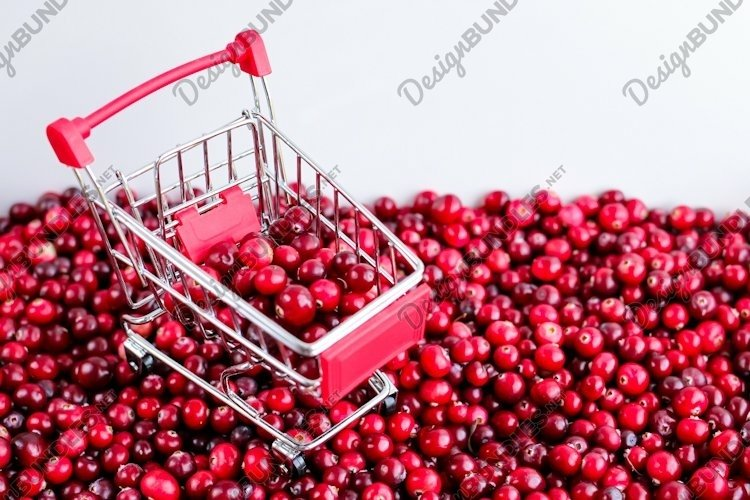 Shopping Trolley with ripe fresh cranberries. Berries. example image 1
