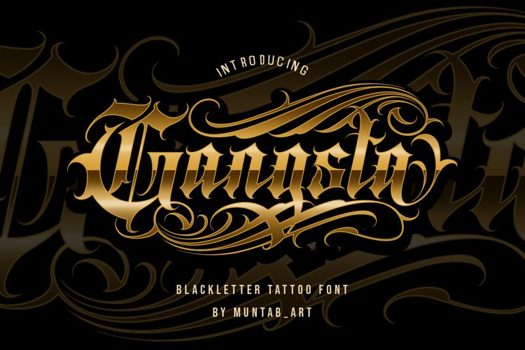 Gangsta Typeface | Tattoo Fonts example image 1