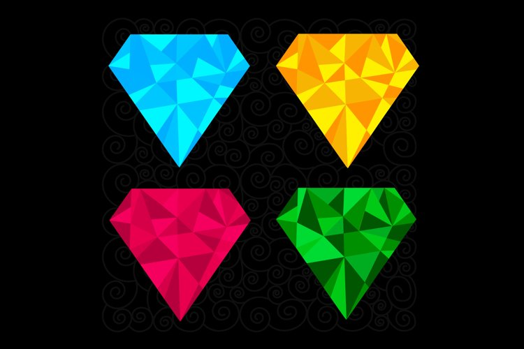 Set of four diamonds. Vector illustration example image 1