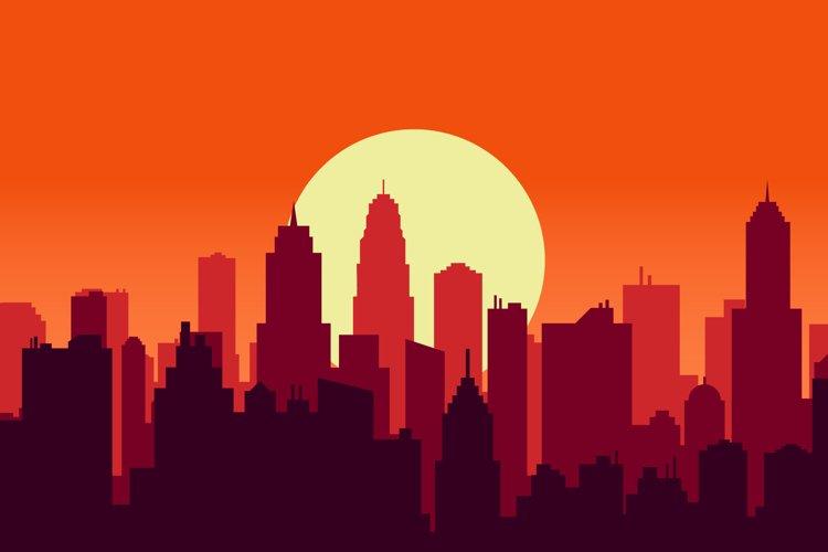 sunset downtown illustration